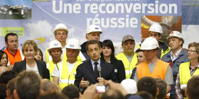 Nicolas Sarkozy en déplacement à Toul-Rosieres, le 2 avril 2012.