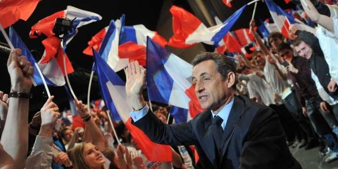 Nicolas Sarkozy, en meeting à Nancy, lundi 2 avril.
