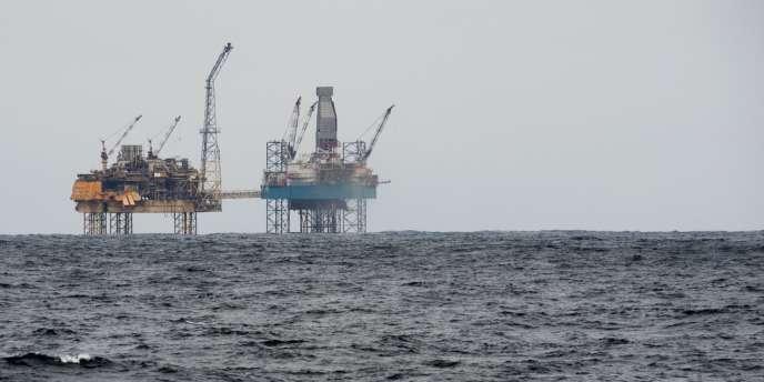 Vue de la plateforme Total d'Elgin en mer du Nord, le 2 avril.