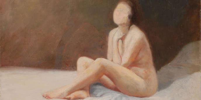 Georges Corm, Femme assise sur un lit, huile sur un panneau, 1920.