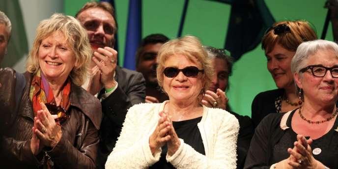 Eva Joly en meeting près de Nantes, le 4 avril 2012.