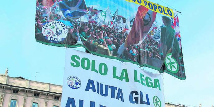 Manifestation de la Ligue du Nord, le parti de Roberto Cota, en janvier 2012, à Milan.