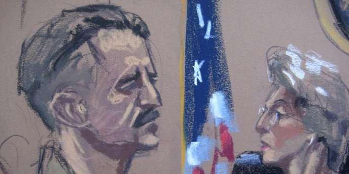 Croquis d'audience du 5 avril à New York présentant Viktor Bout et la juge Shira Scheindlin.