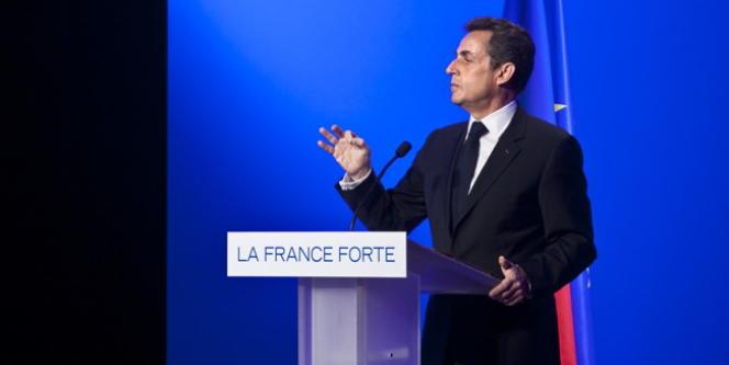 Nicolas Sarkozy, lors d'un meeting à Paris, le 5 avril.