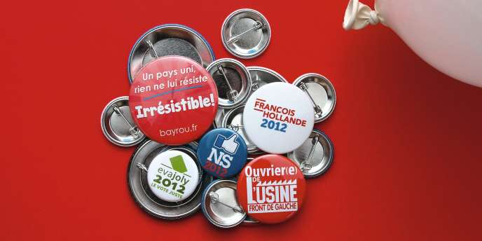 Les partis misent sur  les grands classiques : porte-clés, ballons  ou badges...