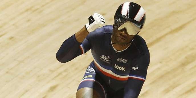Grégory Baugé, champion du monde de cyclisme sur piste lors des Mondiaux à Melbourne, le 7 avril 2012.