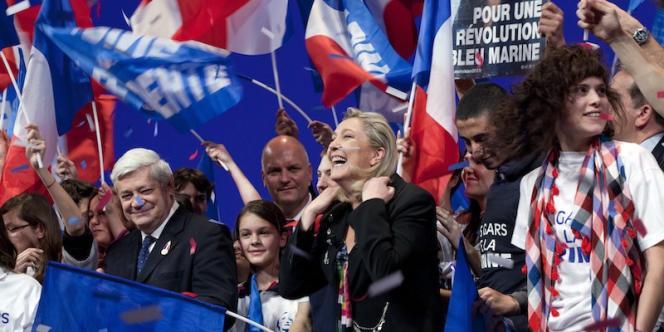 Lors du meeting de Marine Le Pen, le 7 avril, à Lyon.