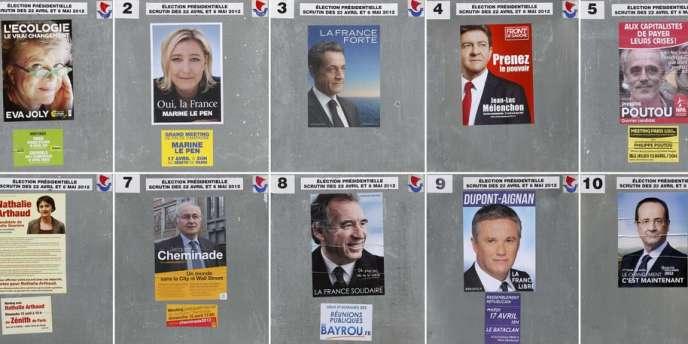 Les affiches des candidats à l'élection présidentielle.