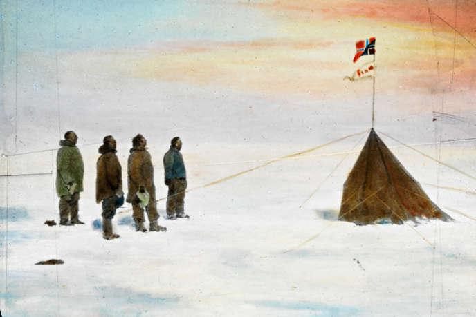 Roald Amundsen et ses trois compagnons au pôle Sud