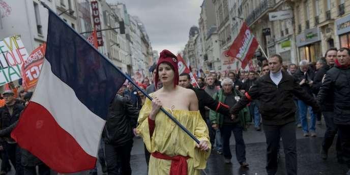 Lors de la maniefstation pour la VIe République organisée par le Front de gauche, le 18 mars à Paris.