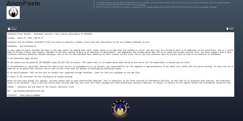 Anonymous lance un concurrent de Pastebin