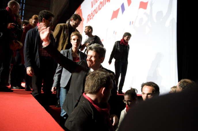 Lors du dernier meeting de campagne de Jean-Luc Melenchon, au Parc des expositions de la porte de Versailles, à Paris, le 19 avril.