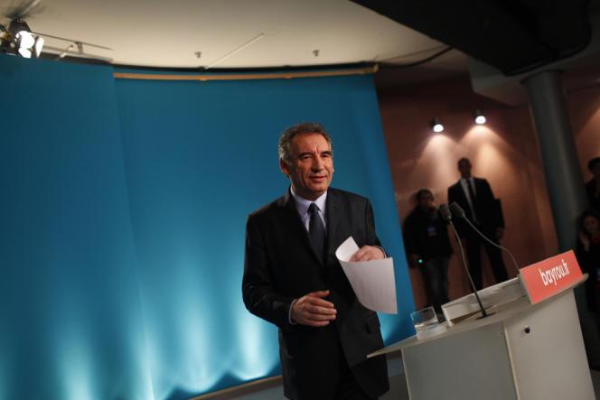 Après l'annonce des résultats du premier tour de la présidentielle, au siège du Modem, le 22 avril.