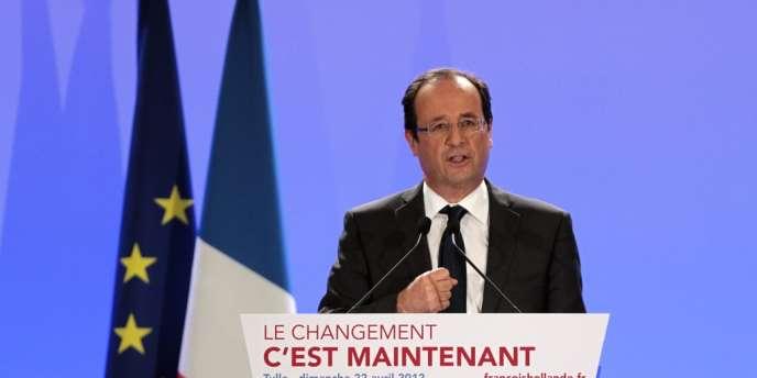 François Hollande, à Tulle, le soir du premier tour, dimanche 22 avril.