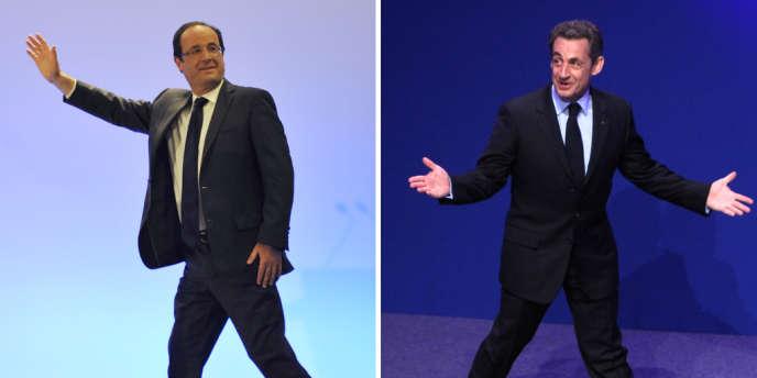 François Hollande et Nicolas Sarkozy dans leur QG respectifs le soir du 22 avril 2012