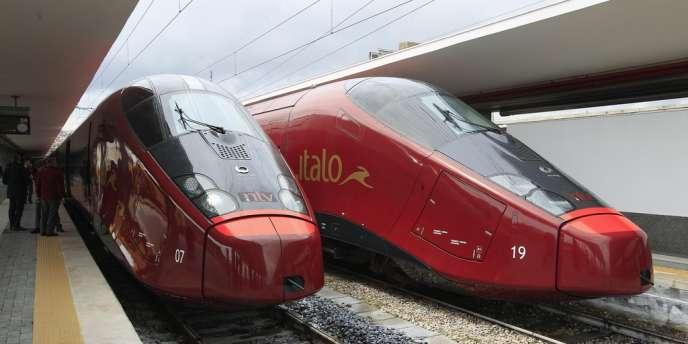 Le train à grande vitesse Italo en gare de Naples, le 20 avril.
