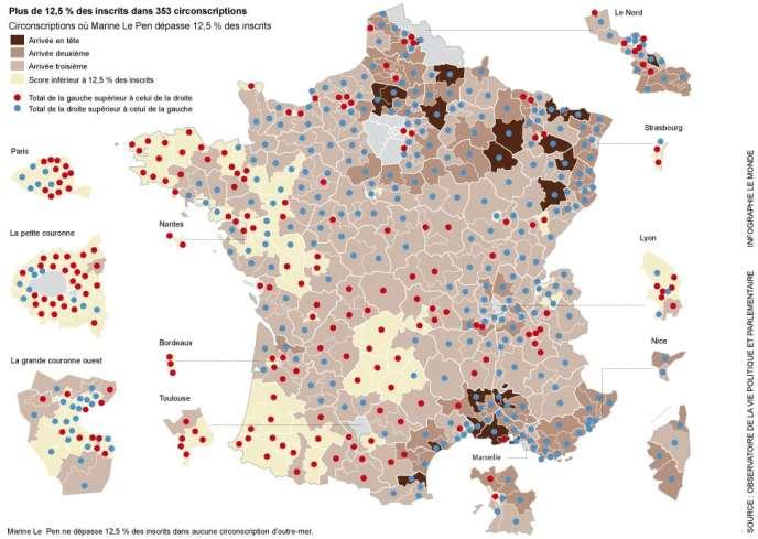 Carte des circonscriptions où Marine Le Pen a dépassé 12,5 % des inscrits au premier tour de la présidentielle.