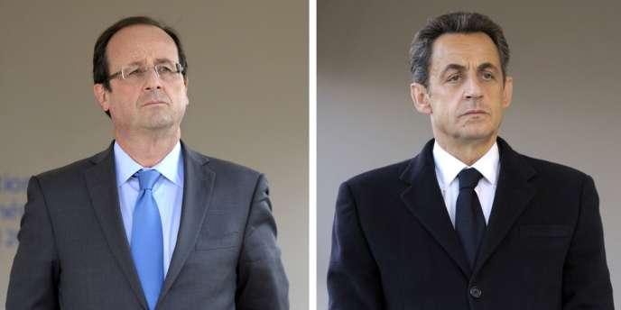 François Hollande et Nicolas Sarkozy, lors de la commémoration du génocide arménien, le 24 avril à Paris.