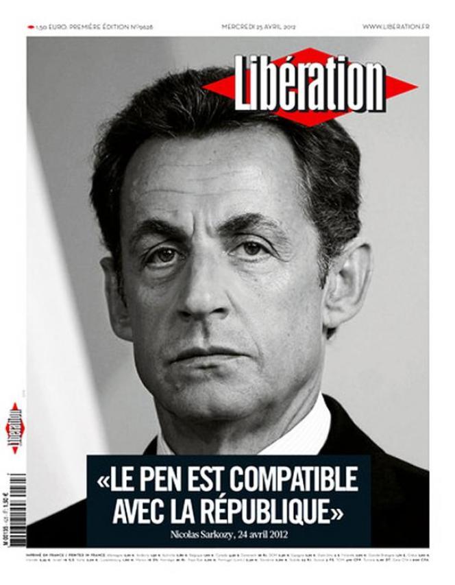 Une de Libération du 25 avril avec Nicolas Sarkozy :