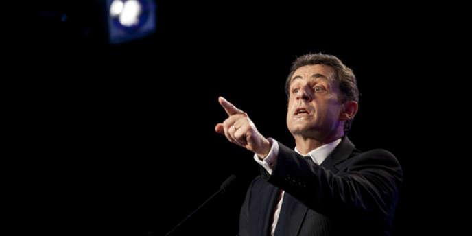 Nicolas Sarkozy, lors d'un meeting au Raincy (Seine-Saint-Denis), le 26 avril 2012.