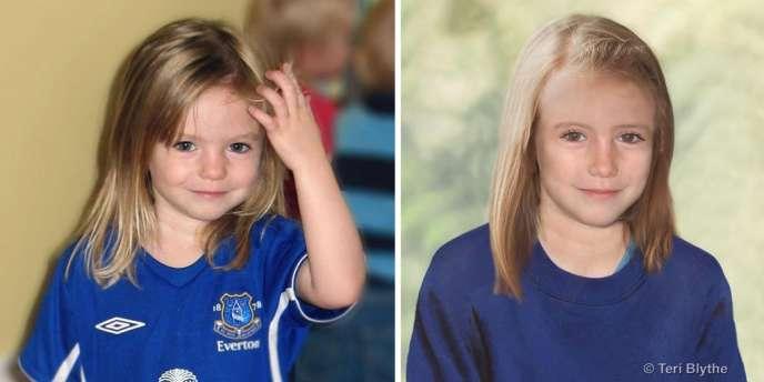Madeleine McCann peu avant ses 4 ans (à gauche) et à 9 ans (à droite), selon une simulation de vieillissement de la police britannique.