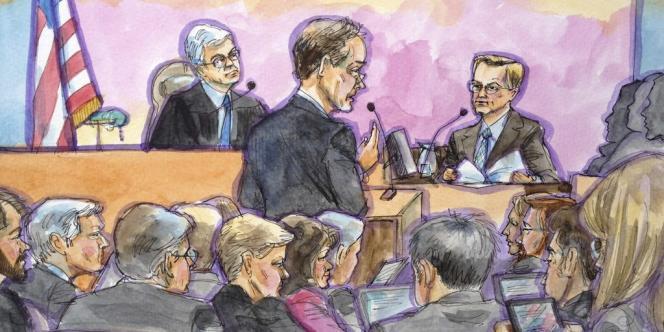 Un croquis du procès opposant Google et Oracle.