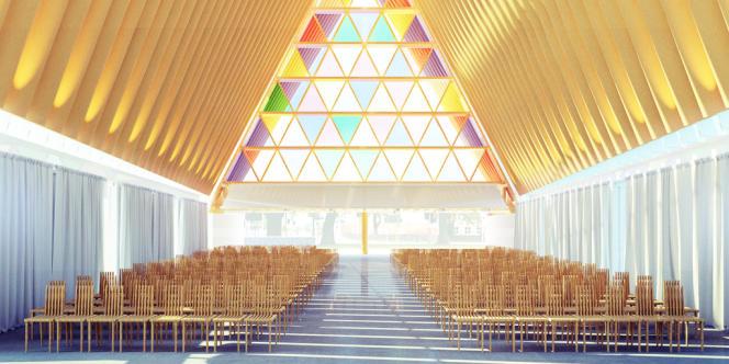 Vue d'artiste du projet de cathédrale en carton de l'architecte Shigeru Ban à Christchurch.