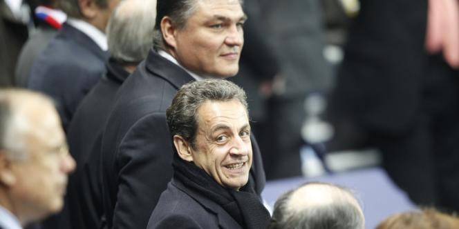 Nicolas Sarkozy et David Douillet, le 28 avril 2012, au Stade de France.
