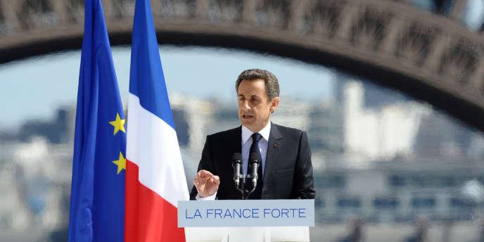 Nicolas Sarkozy, le 1er mai place du Trocadéro, à Paris.