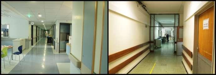 Les deux ailes, l'une rénovée, l'autre non, du service de médecine interne de l'hôpital São João de Porto. Un tiers de l'hôpital n'a pas encore été modernisé.