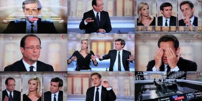 Débat d'entre-deux-tours de la présidentielle sur France 2 entre François Hollande et Nicolas Sarkozy, mercredi 2 mai 2012.