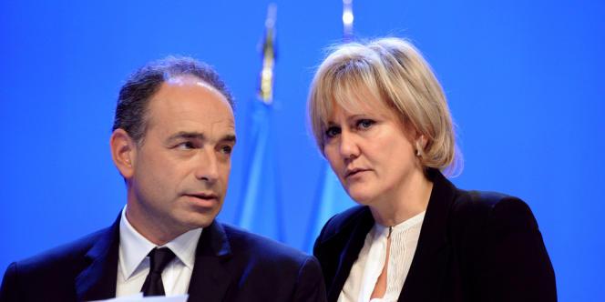Jean-Francois Copé et Nadine Morano au conseil national de l'UMP, le 28 janvier 2012, à Paris.