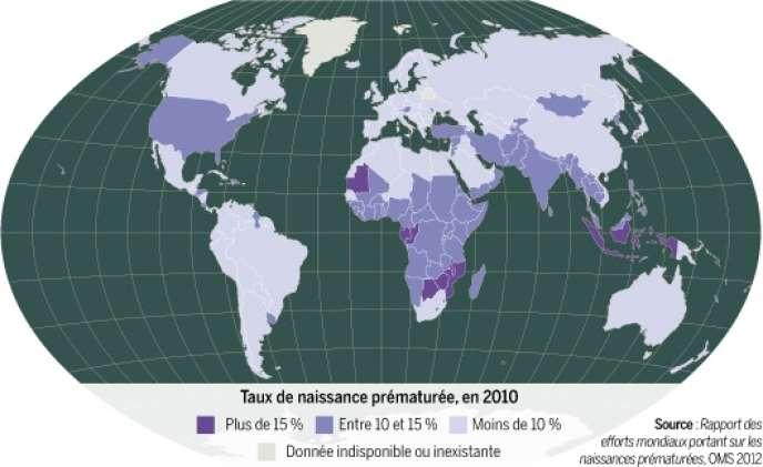 Taux de naissance prématurée dans le monde, en 2010