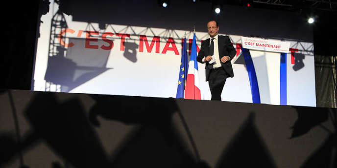 François Hollande, lors d'un meeting à Toulouse, le 3 mai 2012.