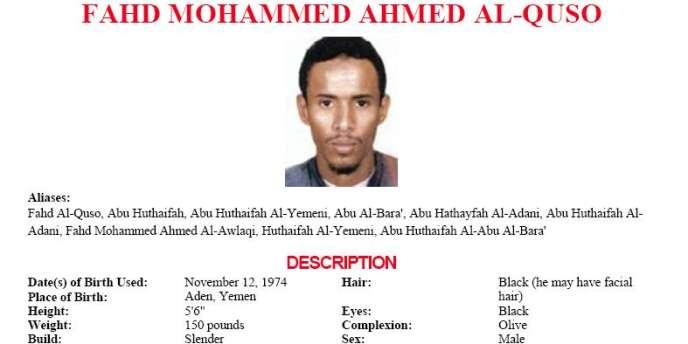 L'avis de recherche de Fahd Al-Quso, sur la liste des fugitifs les plus recherchés par le FBI.