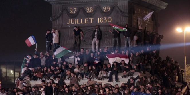 Place de la Bastille le dimanche 6 mai, après l'annonce des résultats du second tour.