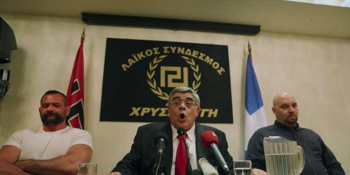 Nikolaos Michaloliakos, chef de l'Aube dorée, parti d'extrême droite ayant obtenu plus de 20 sièges au parlement grec lors des élections législatives du 6 mai.