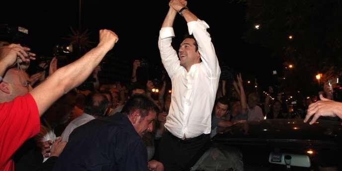 A Athènes, le 6 mai au soir, Alexis Stipras, le chef de coalition de la gauche radicale, dont le parti, Syriza, est devenu la deuxième force politique après les élections législatives grecques.