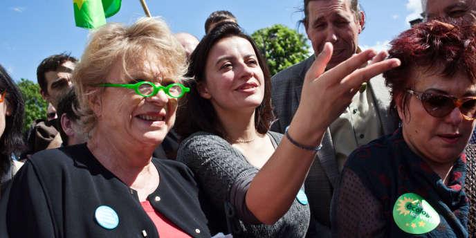 L'ex-candidate d'EELV à l'élection présidentielle, Eva Joly, et, Cécile Duflot, alors encore secrétaire nationale du parti, le 1er mai à Paris.