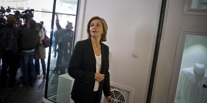 Valérie Pécresse au siège de l'UMP  à Paris.