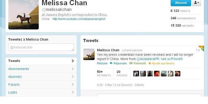 Capture d'écran du compte twitter de la journaliste Melissa Chan.