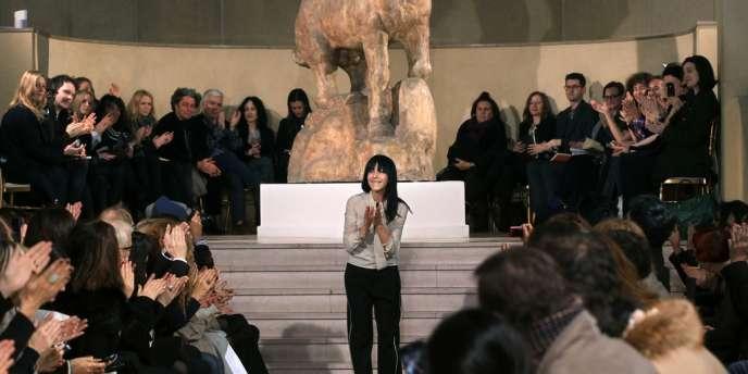 Bouchra Jarrar, en janvier 2012, à l'issue de la présentation de sa collection printemps-été 2012.