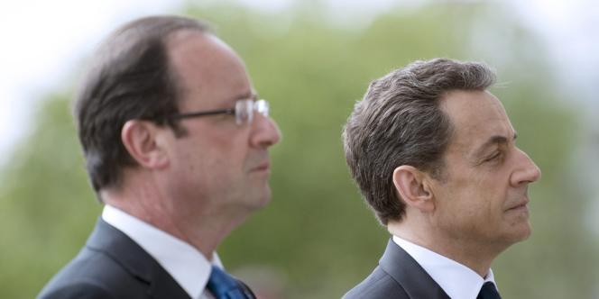 François Hollande et Nicolas Sarkozy durant la cérémonie du 8-Mai.