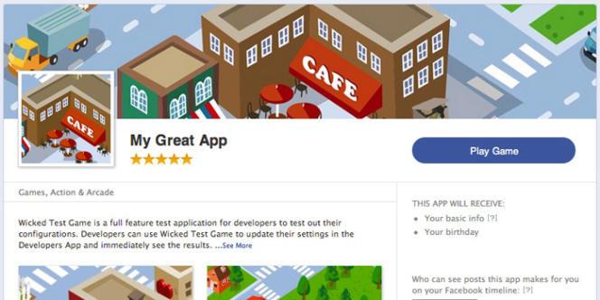 Un exemple d'application sur la plateforme de Facebook.
