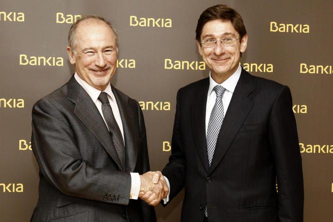 Le 9 mai, à Madrid, Jose Ignacio Goirigolzarri, le nouveau président de Bankia, la banque espagnole nationalisée, au côté de son précesseur, Rodrigo Rato, démissionnaire.