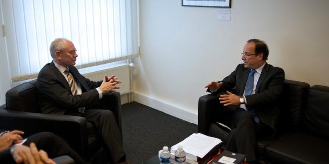 Herman Van Rompuy et François Hollande à Paris, le 9 mai.