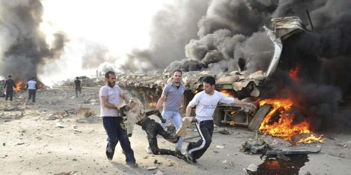 Syrie, le 10 mai. Damas après un attentat dans le quartier Sud de la capitale.