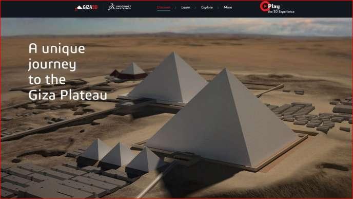 Capture d'écran de la nécropole de Gizeh reconstituée en 3D, avec, au premier plan, la pyramide de Kheops.