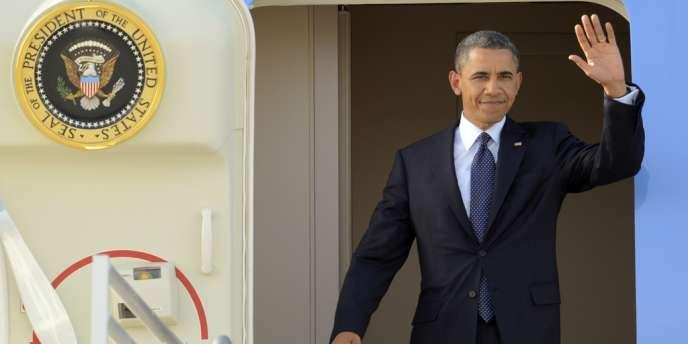 Barack Obama, le 10 mai 2012, à son arrivée à Los Angeles.