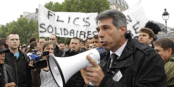 Jean-Claude Delage, le secrétaire général du syndicat de police Alliance, lors de la manifestation du 11 mai à Paris.